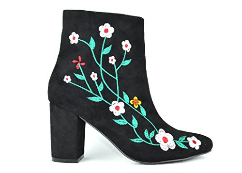Chase & Chloe Wayne-1 Floral Bottines Pour Les Femmes Noir Floral