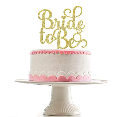 Bride To Be Cake Topper for Bachelorette Party Wedding Engagement Bridal Shower Party Decoration Supplies(Gold)