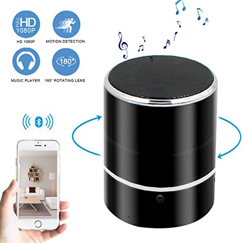 Yumfond Spy Camera Bluetooth Speaker, Hidden WiFi HD 1080P Nanny Cam Rotate 180°, Wireless Stereo Music Speaker Player Video Recorder with Motion Detection/Real-Time View Mini Cam for Home