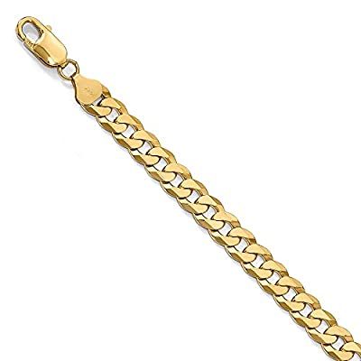 8mm 14K Yellow Gold Beveled Curb Chain Bracelet from The Black Bow