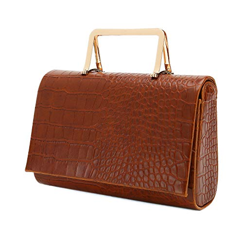 - Charming Tailor Small Crocodile Handbag PU Cross Body Bag Croc Top Handle Satchel Women's Clutch Purse (Brown)