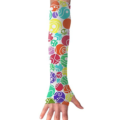 HBSUN FL Unisex Abstract Cartoon Colored Circles Anti-UV Cuff Sunscreen Glove Outdoor Sport Riding Bicycles Half Refers Arm Sleeves by HBSUN FL