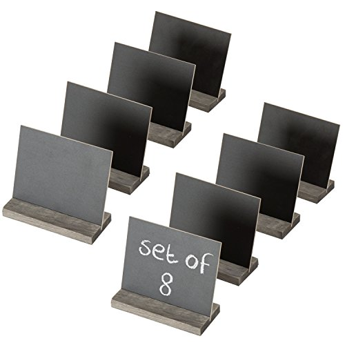MyGift Set of 8 Mini Tabletop Chalkboard Signs with Rustic Wood Stands - 5 X 6 Inch