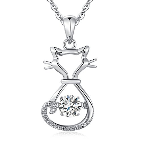 Cat Necklaces Sterling Silver Dancing Cat Necklace for Women,Naughty Cute Lucky Cat Pendant Necklace,Silver Cat Necklace,Kitty Cat Necklace for Girls,Fashion Cats Jewelry Necklace Charm Dancing Stone -