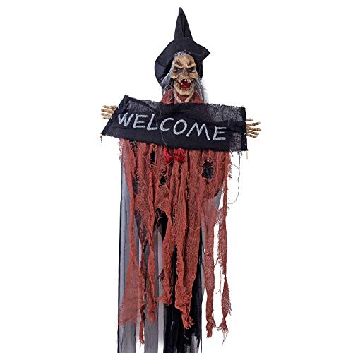 Xena Halloween Hanging Novelty Scary Witch Welcome Sign Decoration for Home Kids Parties Fun Decor Witches Outdoor Decorations Signs 9.75 x 5.9 inches]()