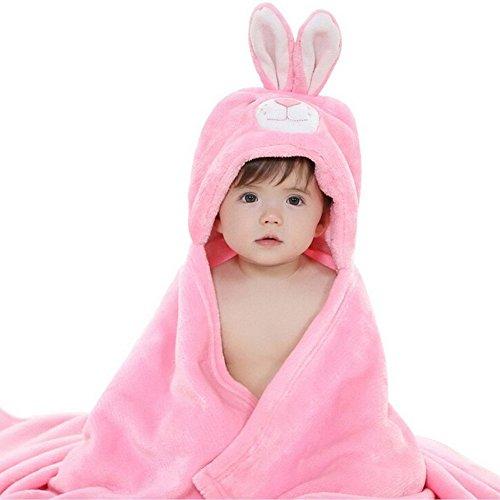 CORLISS Unisex Baby Dusche Blanket Bademantel Wrap Handtuch Kapuzen Umhang Schlafanzüge(FBA) (#01 Rosa Hase)