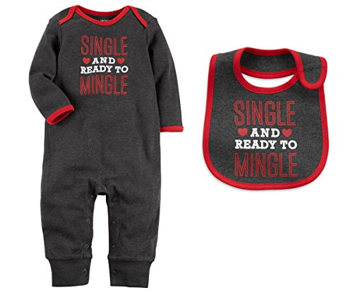 Carters Baby Girls or Boys My First Valentines Day Romper Jumpsuit With Bib Set (3 Months, Grey and Red - Single and Ready To Mingle)