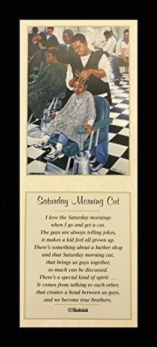 Morning Framed Poster - Black 1.5 inch Framed with SATURDAY MORNING CUT I, (BARBER SHOP/2254C) 8x20 Inch K.ROUNDTREE/SHAHIDAH, ART Print Poster