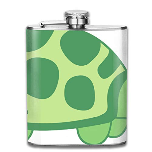 FTRGRAFE Cute Turtle Cat Clipart Fashion Portable 304 Stainless Steel Leak-Proof Alcohol Whiskey Liquor Wine 7OZ Pot Hip Flask Travel Camping Flagon for Man Woman Flask Great Little Gift ()