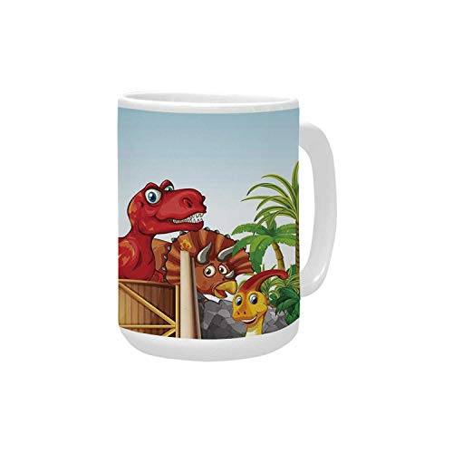 Kids Ceramic Mug,Cartoon Style Cute Dinosaurs in a for sale  Delivered anywhere in Canada