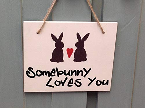 Adonis554Dan Some Bunny Loves You hand Wooden Printed Signs wooden Signs Easter gift Easter decoration bunny Signs quote Signs wall plaque Valentines Day -