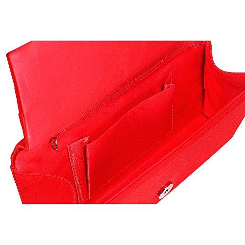 TrendStar - Bolso de mano para mujer, diseño con cuentas de cristal A - Red