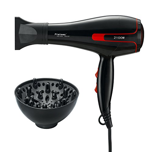 Hair Dryer Ptatoms Professional Ionic Blow Dryer AC 2100W with Blue Light 2 Speeds - 3 Heat Settings For Home Barbershop (Black)