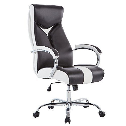 High-Back Ergonomic Executive Home Office Chair, Adjustabl Swivel Pu Desk Chair with Chrome Base,Management Chair with Chrome Armrests for Home and Office (Black and White) - Back Executive Office Chair