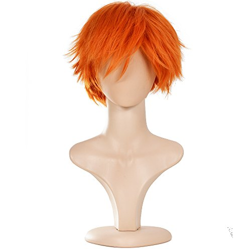 Ecvtop Wigs for Mens' Death Note Male Short Hair Wig Costume Cosplay Wigs (Orange)]()