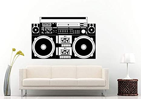 Wall Decals Cute Boom Box Retro Old School Classical Music Player A Track Cassette Tape Radio Equalizer Wall Decal Vinyl Sticker Mural Room Decor Made In Usa Fast Delivery Home Kitchen