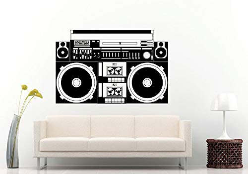 Wall Decals Cute-Boom Box Retro Old School Classical Music Player A-Track Cassette Tape Radio Equalizer Wall Decal Vinyl Sticker Mural Room Decor- Made in USA-Fast delivery
