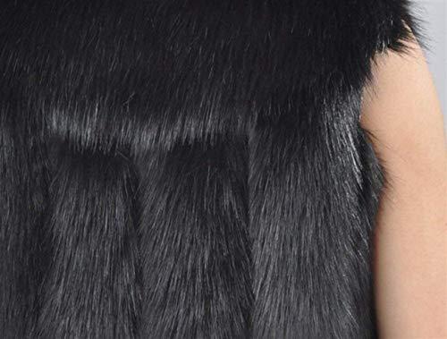 Jacken Sans Schwarz Outerwear Synthétique Gilet Casual Taille De Femme Manteau Hiver Grande Manches Mode Boutonnage Vintage Fourrure Automne Elégante Dame Confortable Patte xOwqUA7q