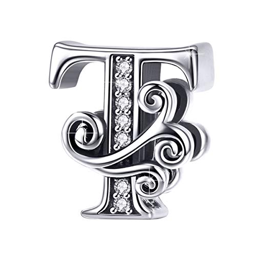 (BAMOER 925 Sterling Silver Initial Letter T Charms for Snake Chain Bracelet Necklace Alphabet Beads)