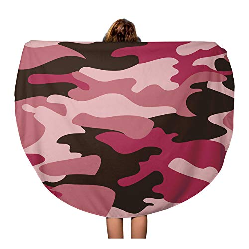 (Semtomn 60 Inches Round Beach Towel Blanket Pink Camo Camouflage Pattern Beige Soldier Abstract Army Combat Travel Circle Circular Towels Mat Tapestry Beach Throw)