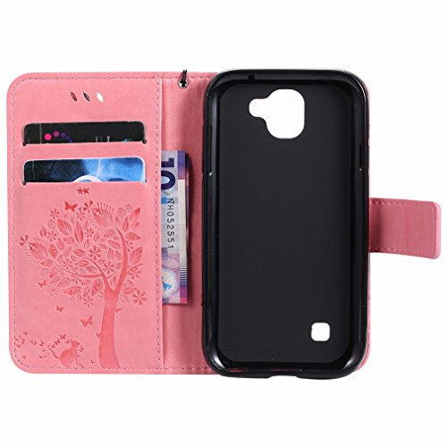 Yiizy LG K3 (2017) Custodia Cover, Alberi Disegno Design Premium PU Leather Slim Flip Wallet Cover Bumper Protective Shell Pouch with Media Kickstand Card Slots (Rosa)