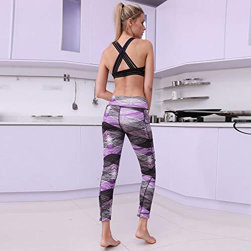 Gym Elastico Slim Purple Con Con Donna Tasca Fitness Eleganti Forti Skinny Per ❤Mambain Alta Fit Jogging Yoga Taglie Pantalone Pantaloni Sportivi Stampa Vita Leggins q0fq1T
