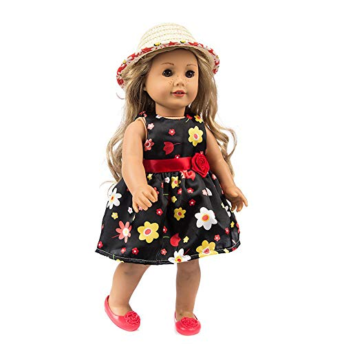 Livoty Clothes Dress Set with Hat for 18 Inch American Toy Girl Doll Flowers Printed Accessory Girl Toy (Black) ()