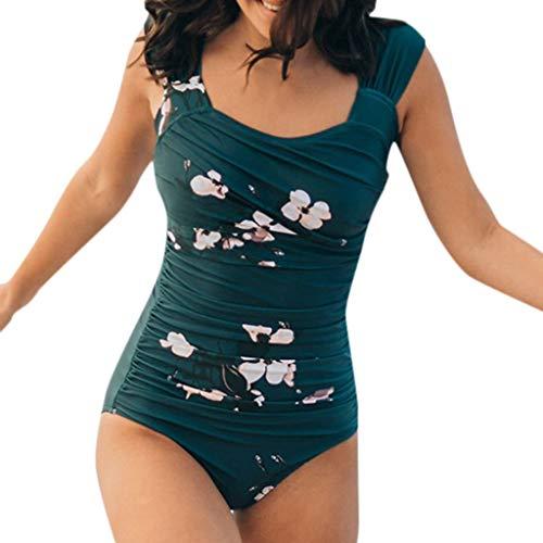 (Claystyle Women One Piece Push Up Printed Bikini Beach Bathing Monokini Swimsuit Swimwear(Green L))