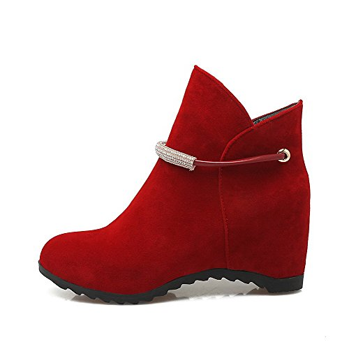 AllhqFashion Mujeres Tobillo Sin cordones Esmerilado Tacón Medio Puntera Redonda Botas Rojo