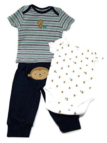Baby Boy Clothes Shirt Bodysuit and Pant Set Child of Mine (New Born, Gray Monkey)