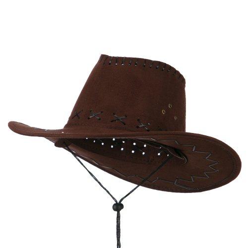 Stitched Suede Cowboy Hat - Brown OSFM