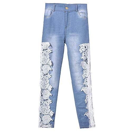 Ahueca Encaje Empalmado Npradla Azul Floral Denim Jeans Moda Flaco Largo El Tendencia Claro Agujero Recto Casual Hacia Vaqueros Fuera qnRq1cwt8