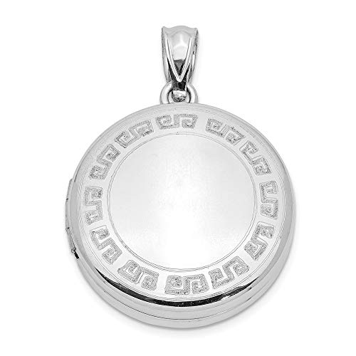 Etched Round Locket - Sterling Silver 20mm Polished Etched Design Round Locket