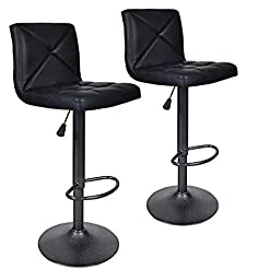 Kitchen Bar Stools, Modern Black PU Leather Barstools with Back Adjustable Counter Height Swivel Bar Stool, Set of 2 (Black) modern barstools