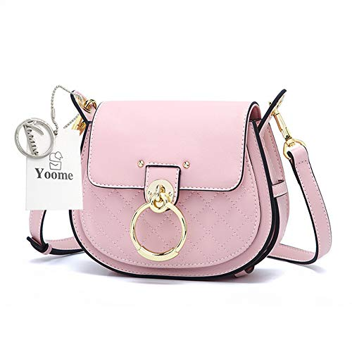 Yoome Women's Small Faux Leather Saddle Bag Ladies Quilted Crossbody Shoulder Bag