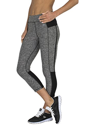 RBX Active Women's Dance and Yoga Capri Length Performance Legging Grey / Black Combo X-Large