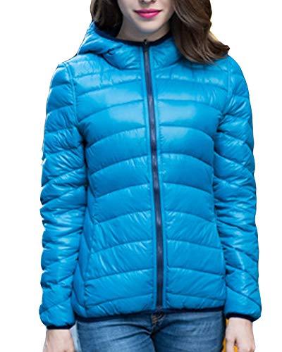 Jackets Coat Lighweight Warm Down Womens Jacket Packable LaoZanA Hooded Navy Blue q1gW0
