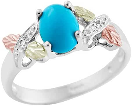 Black Hills Gold on Silver Turquoise and Diamond Ring