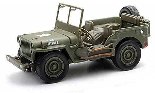 (New Ray New 1:32 Collection - Green City Cruiser Jeep Willys WW II Military US Army Vehicle Model Car Toys)
