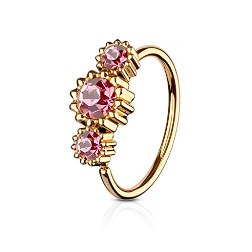 3 Round CZ Set Rose Gold IP Plated 316L Surgical Steel WildKlass Hoop Ring for Nose & Ear Cartilage (Pink)