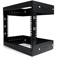 StarTech.com 8U Open Frame Wall Mount Equipment Rack - Adjustable Depth RK812WALLOA (Black)