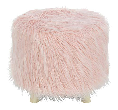 Deco 79 98771 Wood and Faux Fur Foot Stool 19 W, 16 H Brown Pink