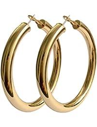 18K Gold Polished Fashion High-profile Big Hoop Earrings with Omega Backs (LARGE)