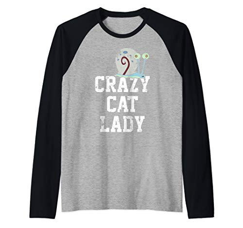 (SpongeBob SquarePants Gary Crazy Cat Lady Raglan Baseball Tee)