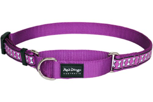 Red Dingo Reflective Martingale Dog Collar, Medium, Purple