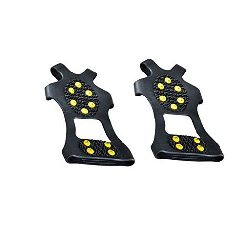 Hisoul Traction Cleats, Ice Snow Grips Anti Slip Silicone Spikes Crampons for Footwear, Climbing Non-Slip Shoe Grip with 10 High-Strength Alloy Teeth for Kids and Adults (♥ Black, M-Size: 7.9x5.1in)