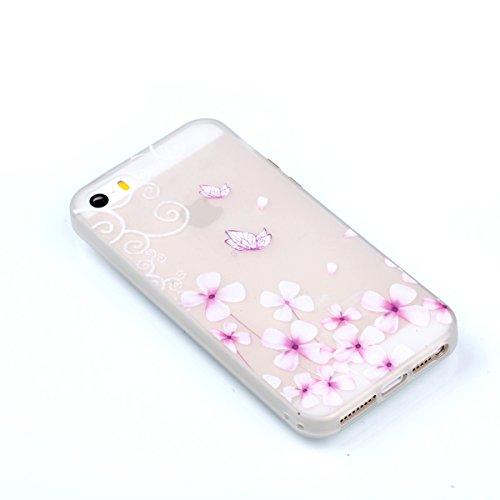 Voguecase Für Apple iPhone SE 5 5S 5G hülle, Schutzhülle / Case / Cover / Hülle / TPU Gel Skin mit Nachtleuchtende Funktion (Lila Blumen/Schmetterlinge 02) + Gratis Universal Eingabestift