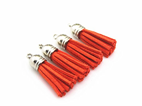 40 Silver Cap 1-1/2 inch Faux Suede Tassel Tassel Charm with CCB Cap for Keychain Cellphone Straps Jewelry Charms (Orange)