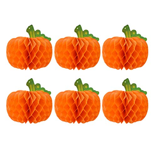 (BESPORTBLE 25CM/10Inch Halloween Paper Balls Party Decorations Orange Pumpkin Honeycomb Balls Indoor Outdoor Hanging Ornament Decor,6PCS)