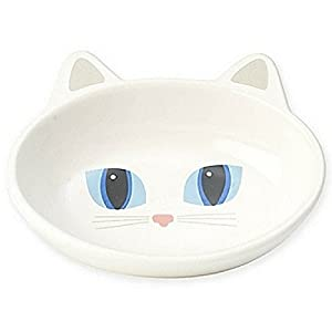Petrageous Stoneware Pet Bowls Here Kitty, 5-1/2-Inch Oval, 5.3-Ounce, White